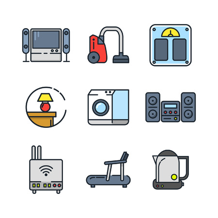fridge lamp: home appliances icon set color
