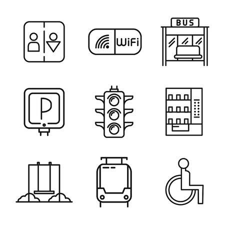 servicios publicos: servicios públicos conjunto de iconos Vectores