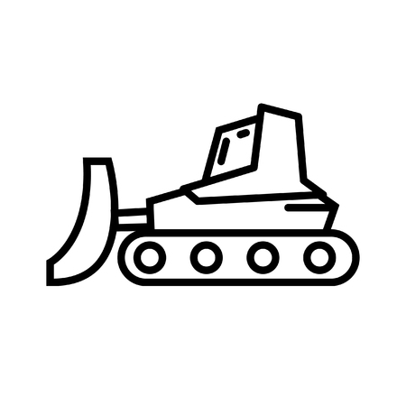 earth mover: bulldozer tractor illustration design Illustration