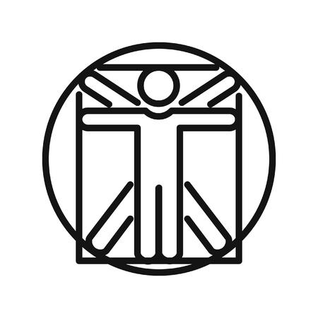 leonardo da vinci: vitruvian man illustration design Illustration