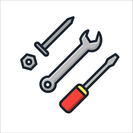 technical tools icon color Illustration