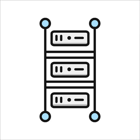 rackmount server icon color Иллюстрация