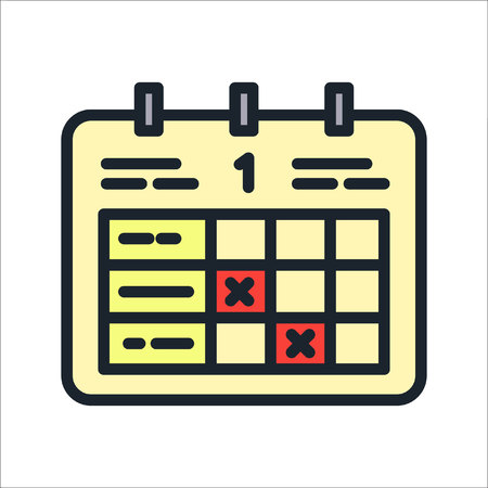 event planner: time table events icon color Illustration