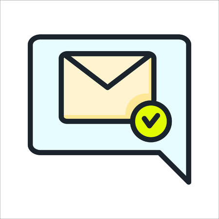 confirmation letter icon color Illustration