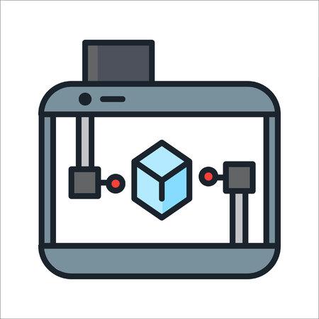 icon 3d: 3d printer icon  color