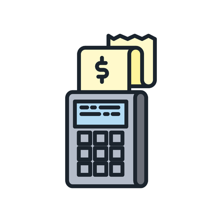 expenditure: expenditure verification icon color Illustration