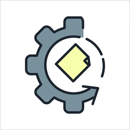 paperless: file processing icon color Illustration
