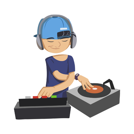 dj playing music illustration design