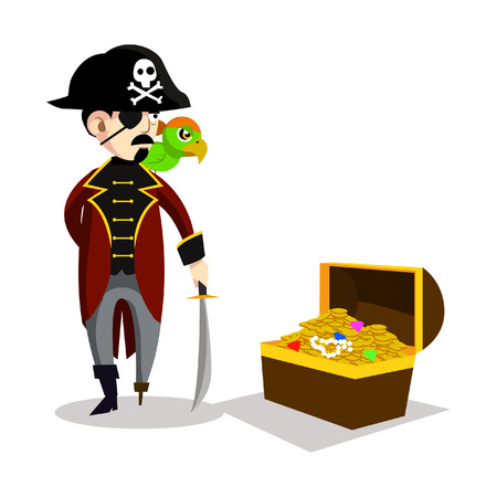 pirate with parrot and treasure chest Illustration