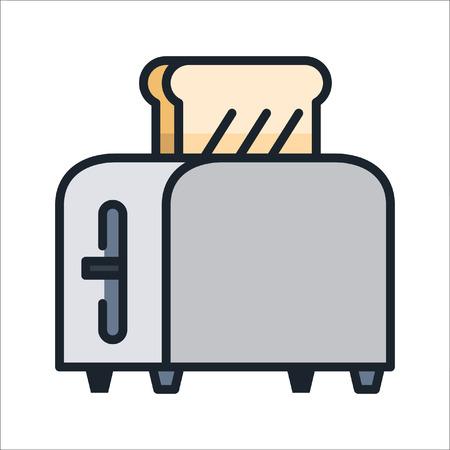 bread toaster icon color Ilustração