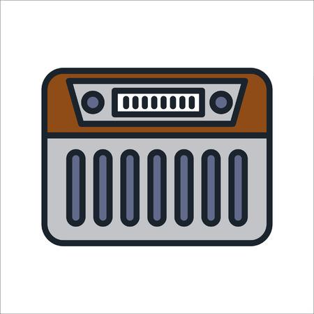 radio icon color illustration design
