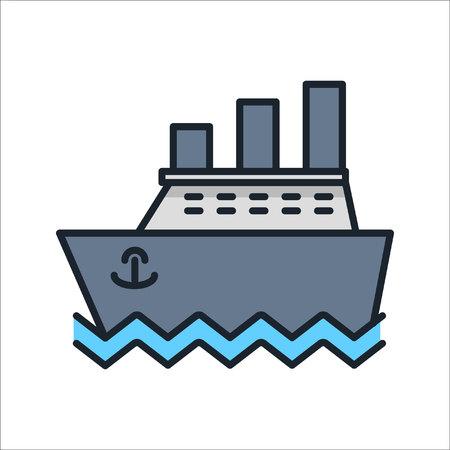 ocean liner voyage icon color Ilustração