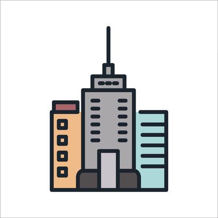 city building icon color illustration design
