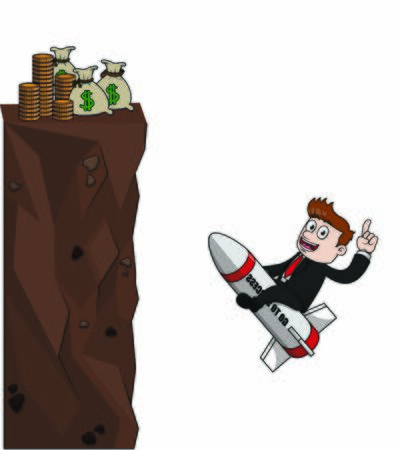 bussinessman climbing for money with rocket