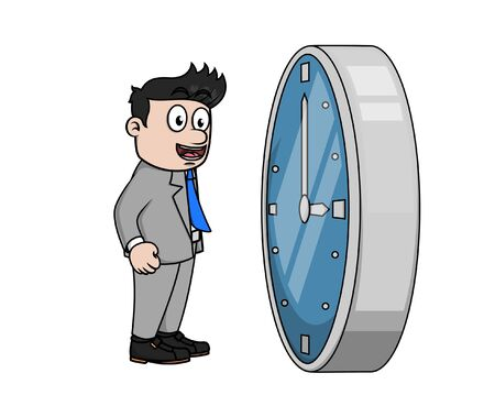 bussinessman facing a giant clock