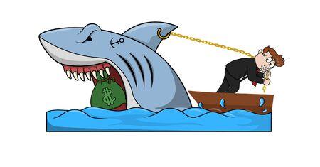 bussinessman got a shark with money Ilustração