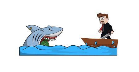 bussinessman try to taking money in shark Ilustração