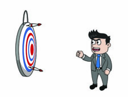 bussinessman failed to aim the target Stock Illustratie