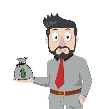 bussinessman holding a money bag  イラスト・ベクター素材