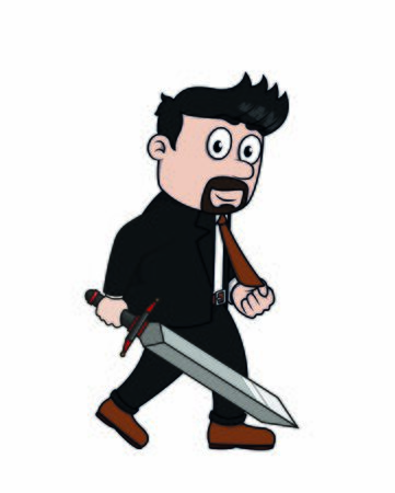 bussinessman holding a sword