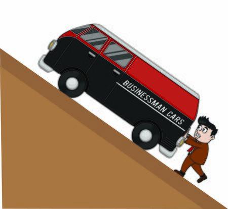 bussinessman pushing a car Stock Illustratie