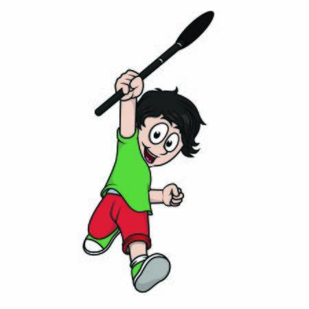 a child holding brush