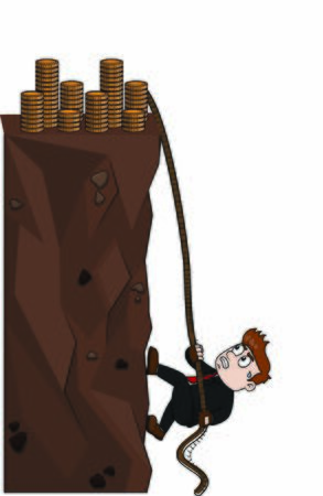 businessman climbing for coin