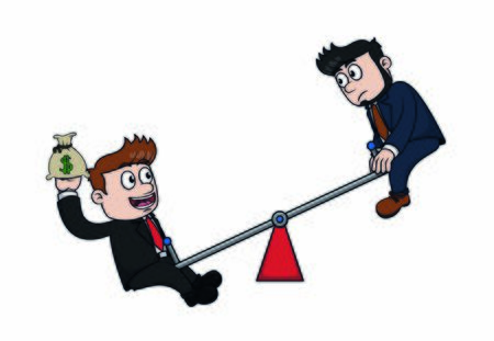 businessman no balance employe Ilustração