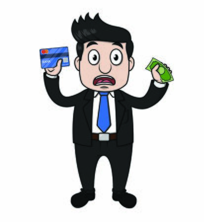 businessman panic holding money business card Stock Illustratie