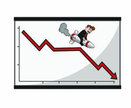 businessman who loses with a graph tabel Ilustração