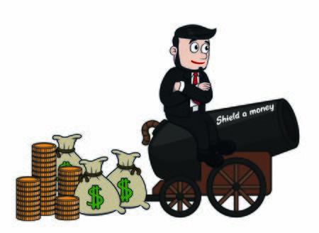 bussinesman shield a money  イラスト・ベクター素材
