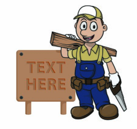 carpenter with wood sign vector