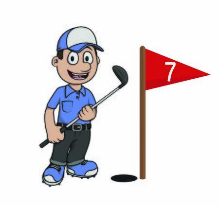 Golfer Man Unplugging Score Flag vector