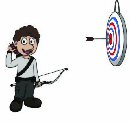 Archer with arrow target vector Illustration