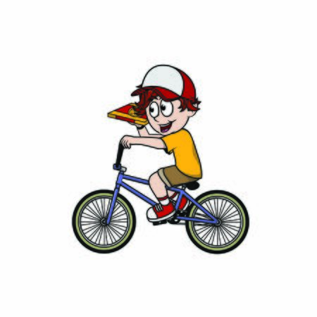 pizza delivery man with bicycle