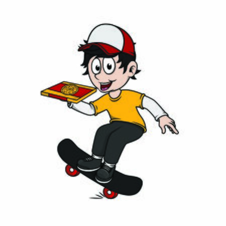 pizza delivery man with skateboard