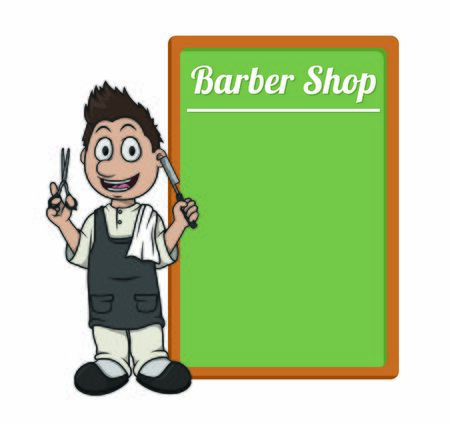 barber with board
