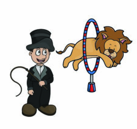 circus performers and lion attractions