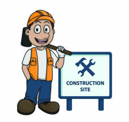 contruction worker Be Careful from sign Illustration