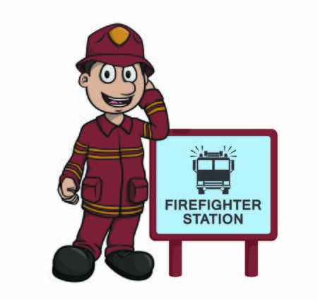 firefighter with firefighter station sign Иллюстрация