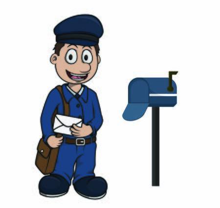 postman with mailbox Stock Illustratie
