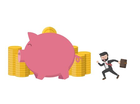 a worker running for coin and piggy bank