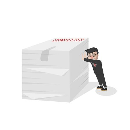 businessman push stack of paper
