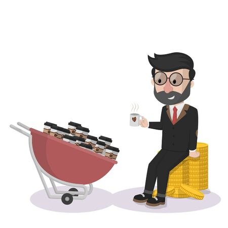 coffee seller and his coffees Illustration