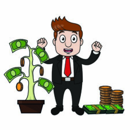 successful bussinessman and his money tree