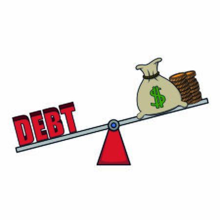 unbalance debt and income Иллюстрация