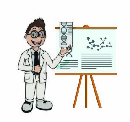 scientist explaining illustration vector