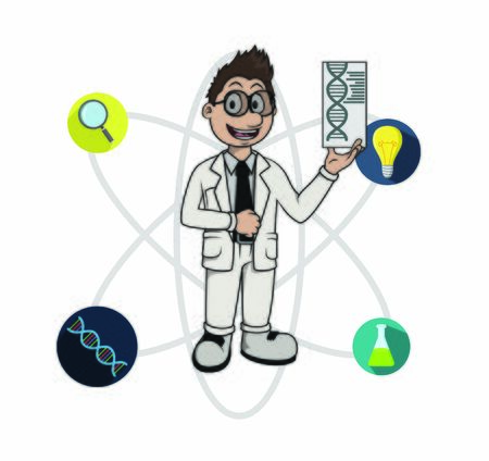 scientist with her skill illustration