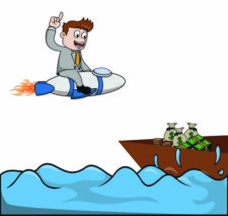 businessman rocket find money at sea Illustration