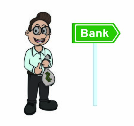 man going to bank holding money bags